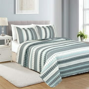 Queen Size 3-Piece Quilt Set, Printed Pattern, Lightweight Design for Spring and Summer, 1 Quilt and 2 Pillow Shams