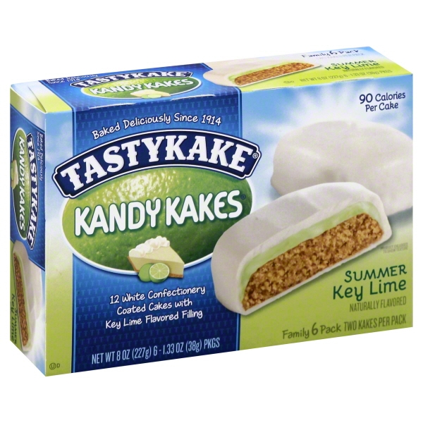 Tastykake Kandy Kakes Summer Key Lime Snack Cakes, 6 count, 8 oz