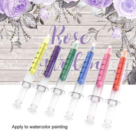 6pcs/set Cute Stationery Needle Tube Syringe Highlighter Marker Nite Writer Pen Fashionable School Office Supplies - Syringe Pen