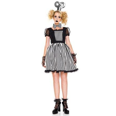 Doll Dresses For Halloween (Music Legs 70832-ML 3 Piece Striped Doll Dress with Wind-Up Headpiece & Choker - Medium &)
