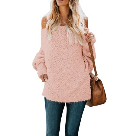 Women Off Shoulder Chunky Knitted Jumper Ladies Baggy Oversized Knitwear Sweater