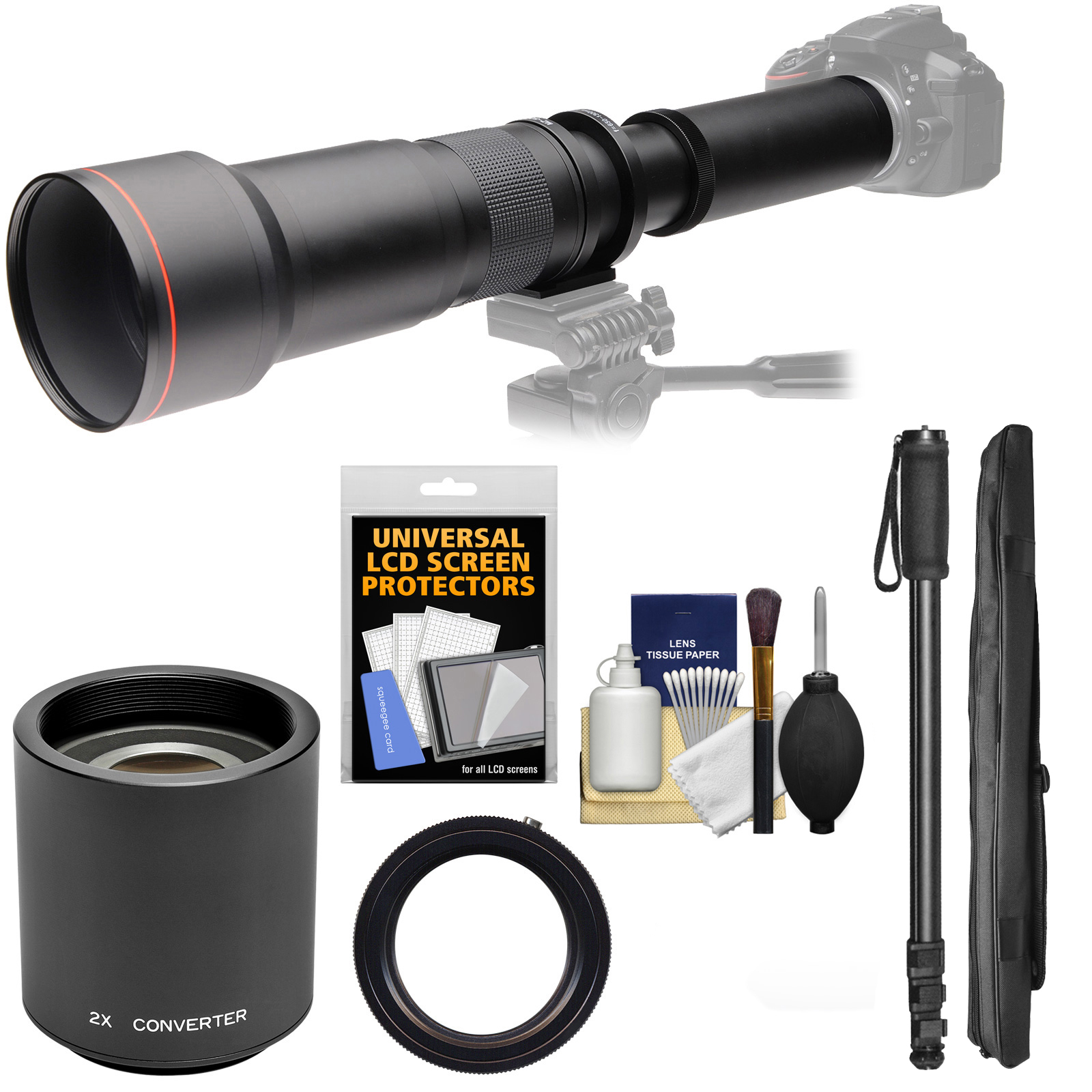 Vivitar 650-1300mm f/8-16 Telephoto Lens with 2x Teleconverter (=2600mm) + Monopod + Kit for Nikon Digital SLR Cameras