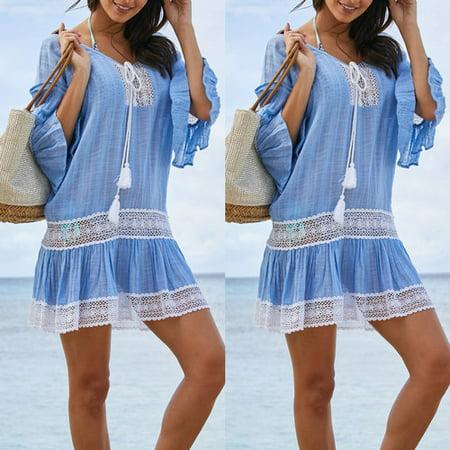 Women Bikini Cover Up Swimwear Bathing Suit Summer Beach Kaftan Dress Tops New Light Blue Size L](Summer Suit)