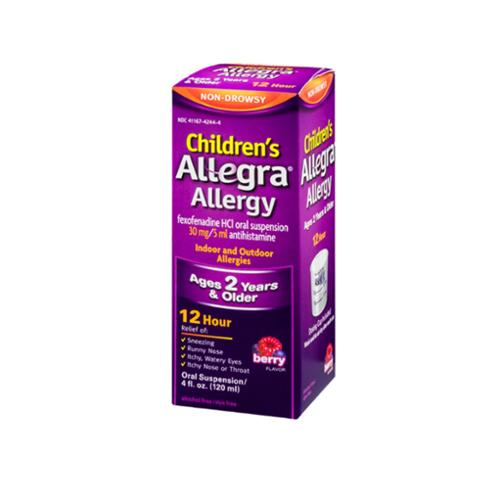 Allegra Children's Allergy Oral Suspension Berry Flavor 4 oz (Pack of 4)