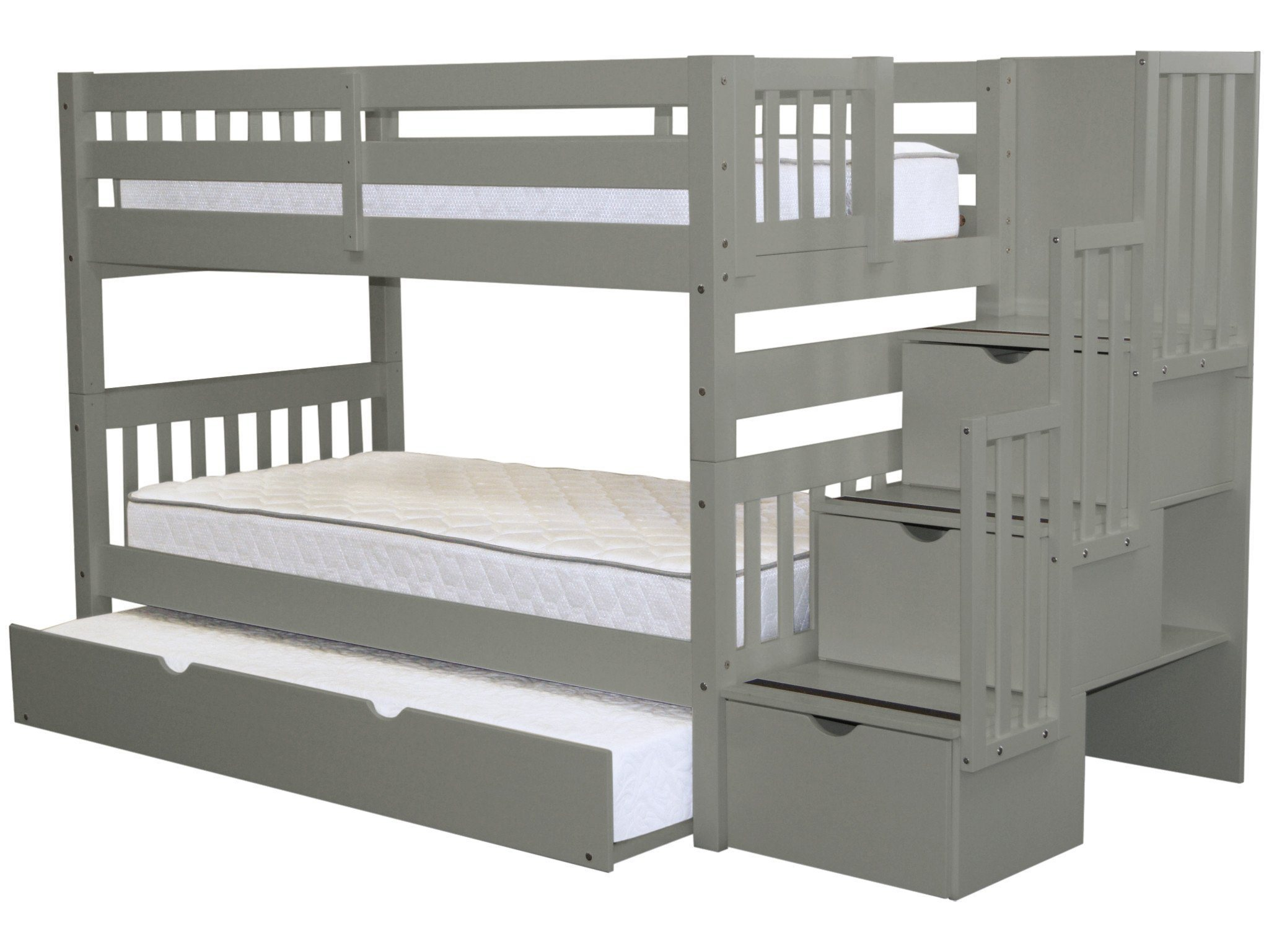 Bedz King Stairway Bunk Beds Twin over Twin with 3 Drawers in the Steps and a Twin Trundle, Cappuccino by Bedz King