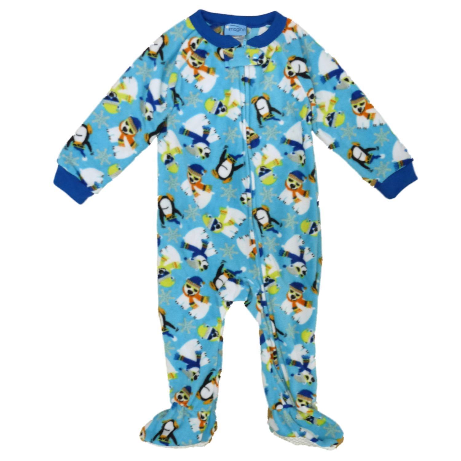 Imagine Infant & Toddler Boys Blue Fleece Polar Bear & Penguin Blanket Sleeper