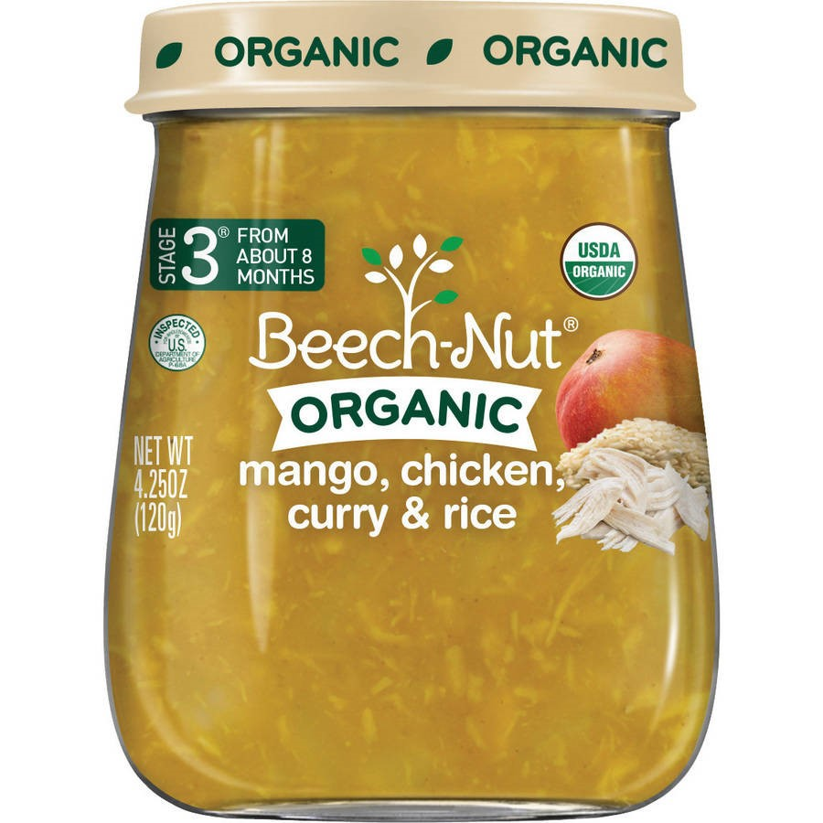 Beech-Nut Organic Stage 3 Mango Chicken Curry with Rice Baby Food, 4.25 oz, (Pack of 10)