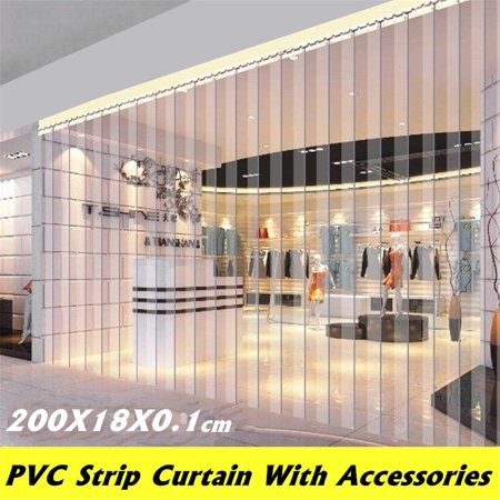 "Meigar 1Pcs 79""X7"" Freezer Room PVC Plastic Strip Curtain Door Strip Kit Hanging Rail"