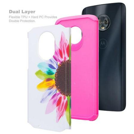 Motorola Moto G6 Case, Moto G6(2018) Case Slim Hybrid Soft Silicone Dual Layer [Shock Resistant] Cute Case Cover for Girls Women Phone Case for Moto G (6thGeneration) - Vivid Sunflower - image 6 de 6