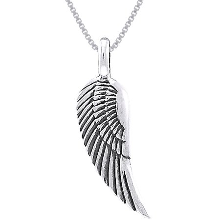 Jewelry Trends Sterling Silver Guardian Angel Wing Pendant on 18 Inch Box Chain Necklace - Guardian Angel Necklace