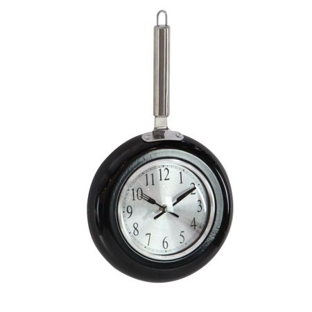 Decmode Eclectic 14 x 8 inch black frying pan-inspired iron wall clock, Black