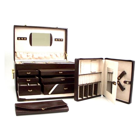 Large Brown Leather Trunk Jewelry Box - 16W x 9.5H in.