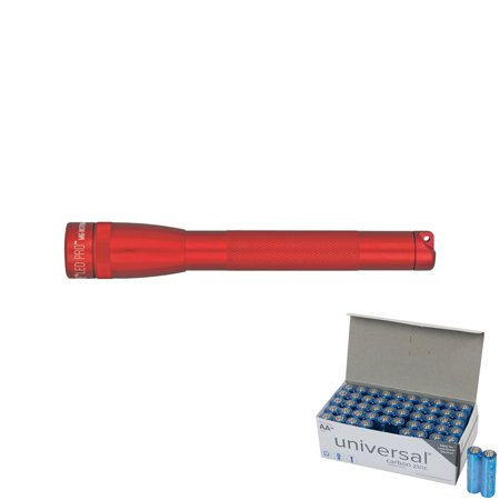 Maglite SP2P03H 272-Lumen Mini Maglite LED Pro Flashlight (Red) & UPG AA 50 Pack
