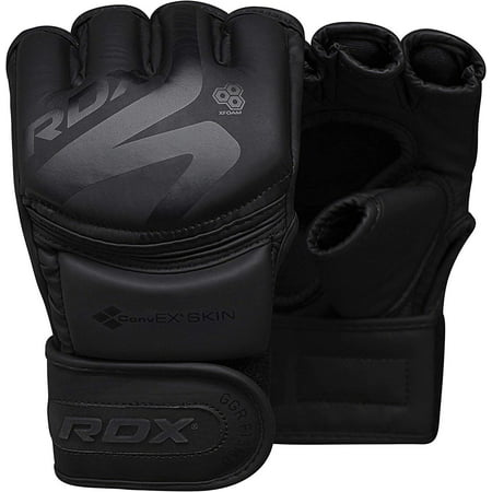 RDX MMA Gloves for Grappling Martial Arts, Open Palm Maya Hide ConvEX Leather Sparring Mitts for Cage Fighting, Kickboxing, Punching Bag, Muay Thai and Combat Training Matte Black