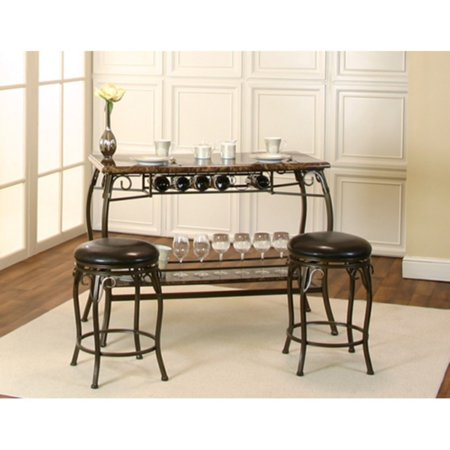 Sunset Trading Tiffany Bar with Built-In Wine Rack and Two Stools