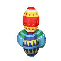 Northlight Easter 4' Inflatable Prelit Eggs Stacks Outdoor Decoration - Blue/Yellow
