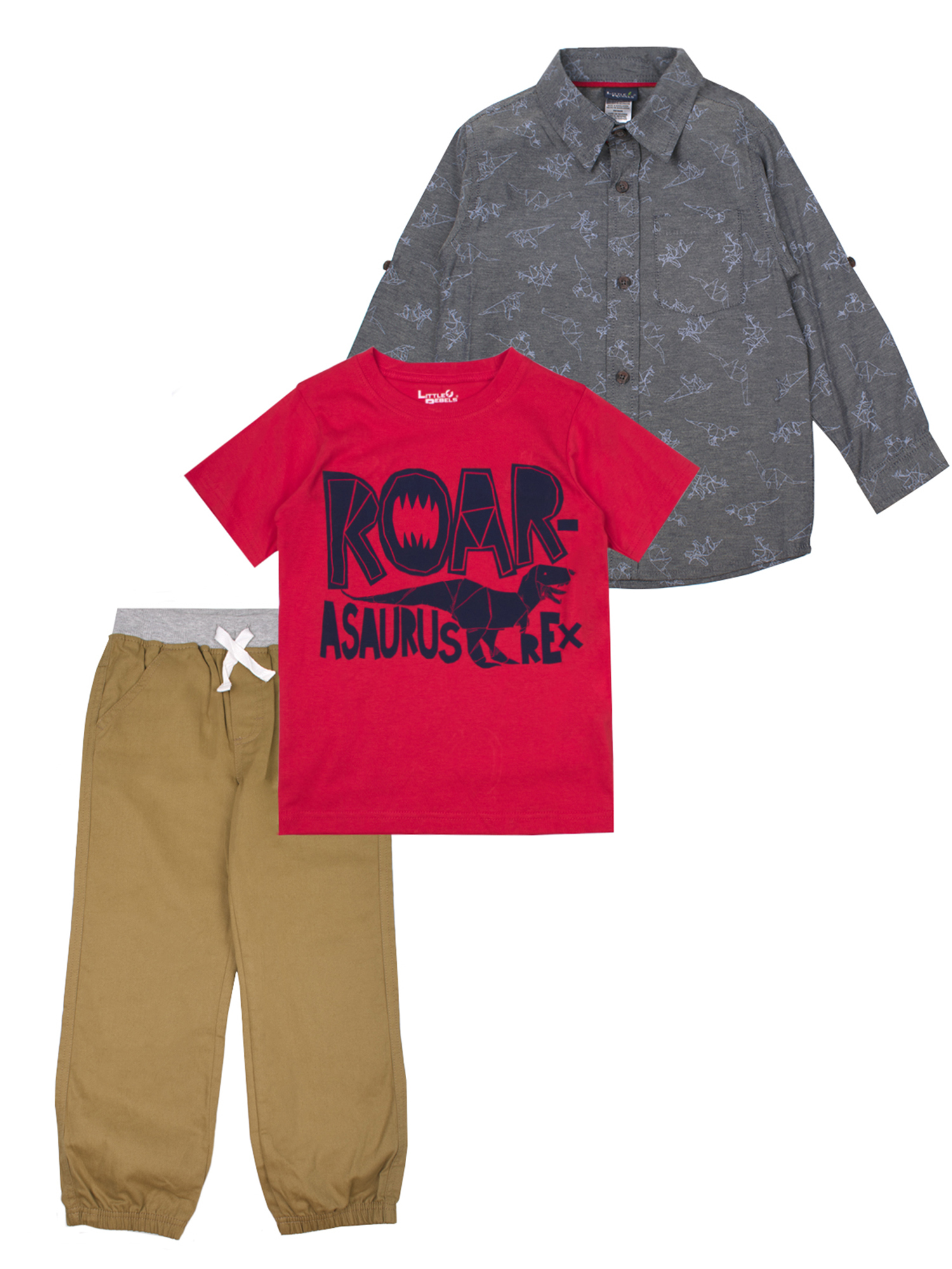 Long Sleeve Printed Shirt, Short Sleve Graphic Tee and Twill Jogger Set (Little Boys)
