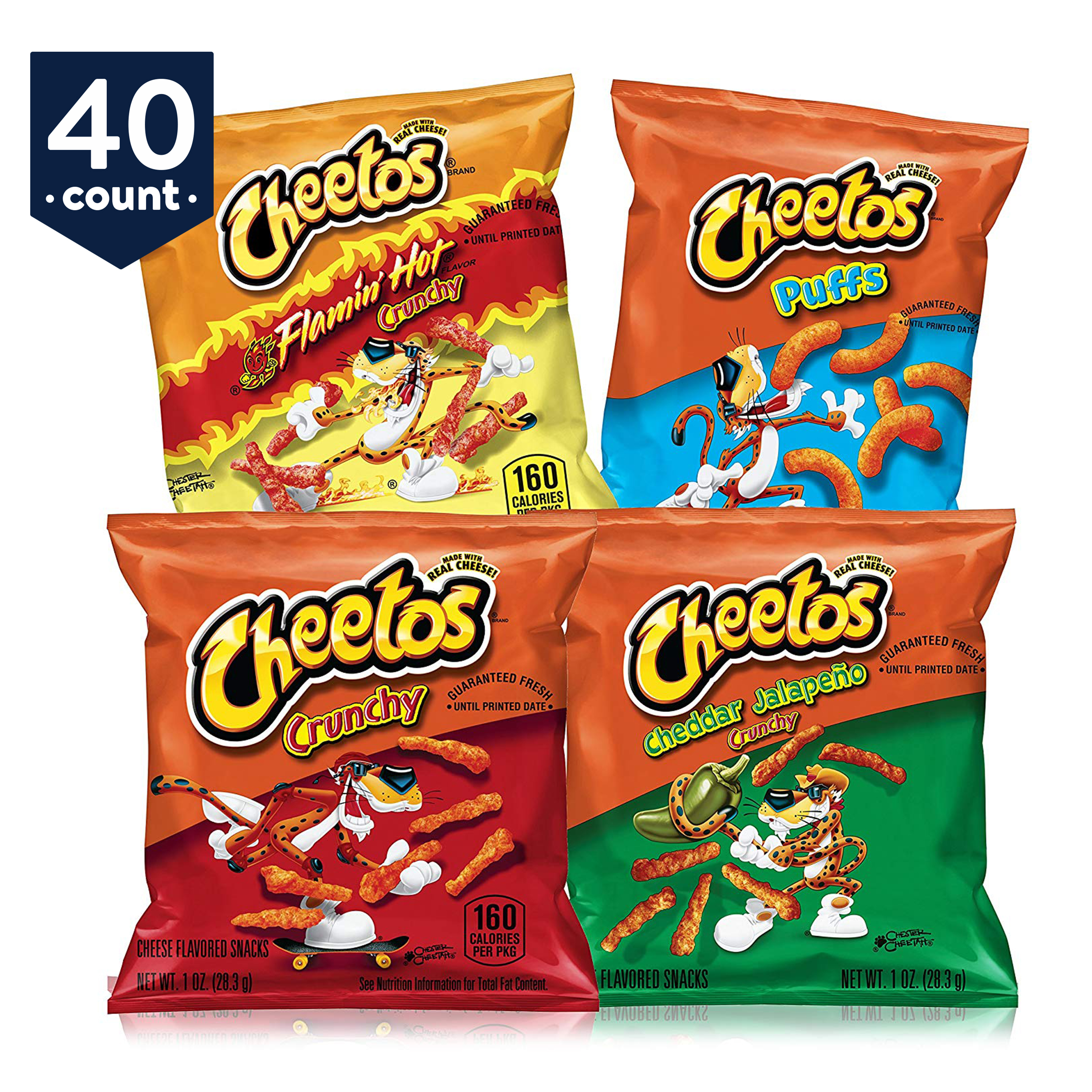 Cheetos Cheese Flavored Snacks Variety Snack Pack, 40 Count