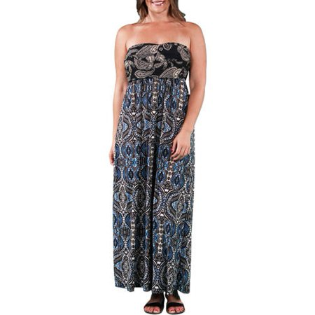 fb381131689 24 7 Comfort Apparel - Women s Plus Size Abstract Paisley Tube Maxi ...