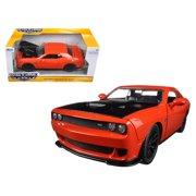 "2015 Dodge Challenger SRT Hellcat Orange with Black Hood ""Big Time Muscle"" 1/24 Diecast Model Car by Jada"