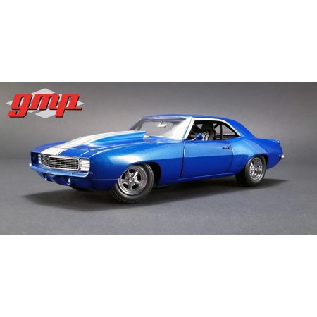 1969 Chevrolet Camaro 1320 Drag Kings Metallic Blue with White Stripe Limited Edition 1/18 Diecast Model Car by -