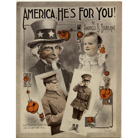 Baby Soldier & young Boy is watched over by a bust of hat topped Uncle Sam Poster Print