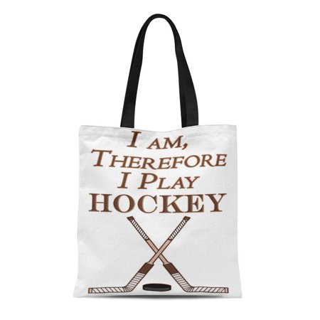 LADDKE Canvas Tote Bag Ice Funny Hockey Sport Athlete M I Am Therefore Reusable Handbag Shoulder Grocery Shopping -