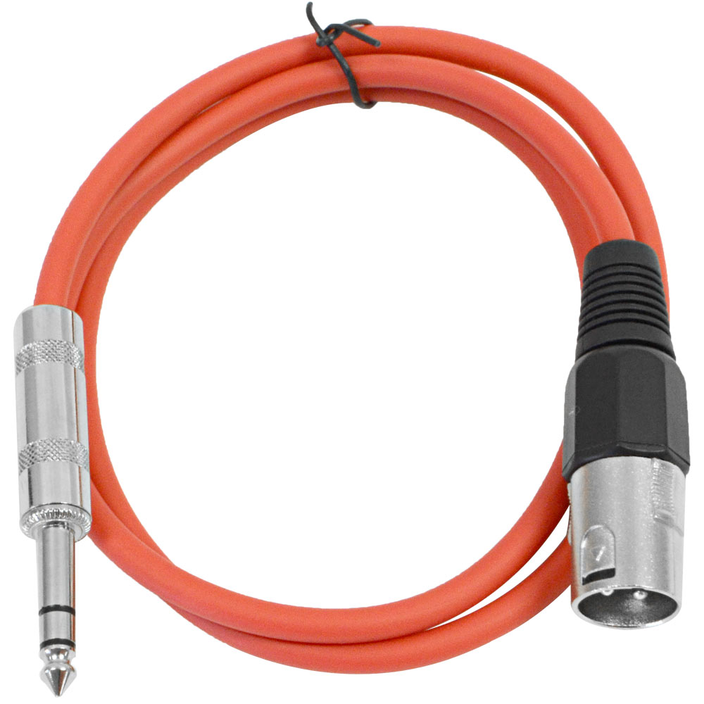 """Seismic Audio  Red 1/4"""" TRS to XLR Male 2' Patch Cable Red - SATRXL-M2Red"""