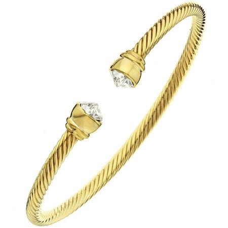 Clear Swarovski Crystal 14kt Gold-Plated Arrowhead Bangle