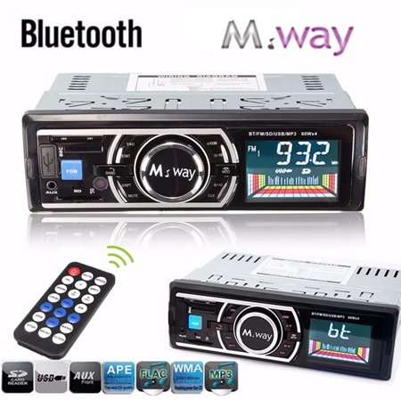 M way bluetooth Car Stereo Car FM Radio Car MP3 Music Player Hand Free  Calls In-Dash Single Din USB/S D/AUX with Microphone Wireless Remote  Control