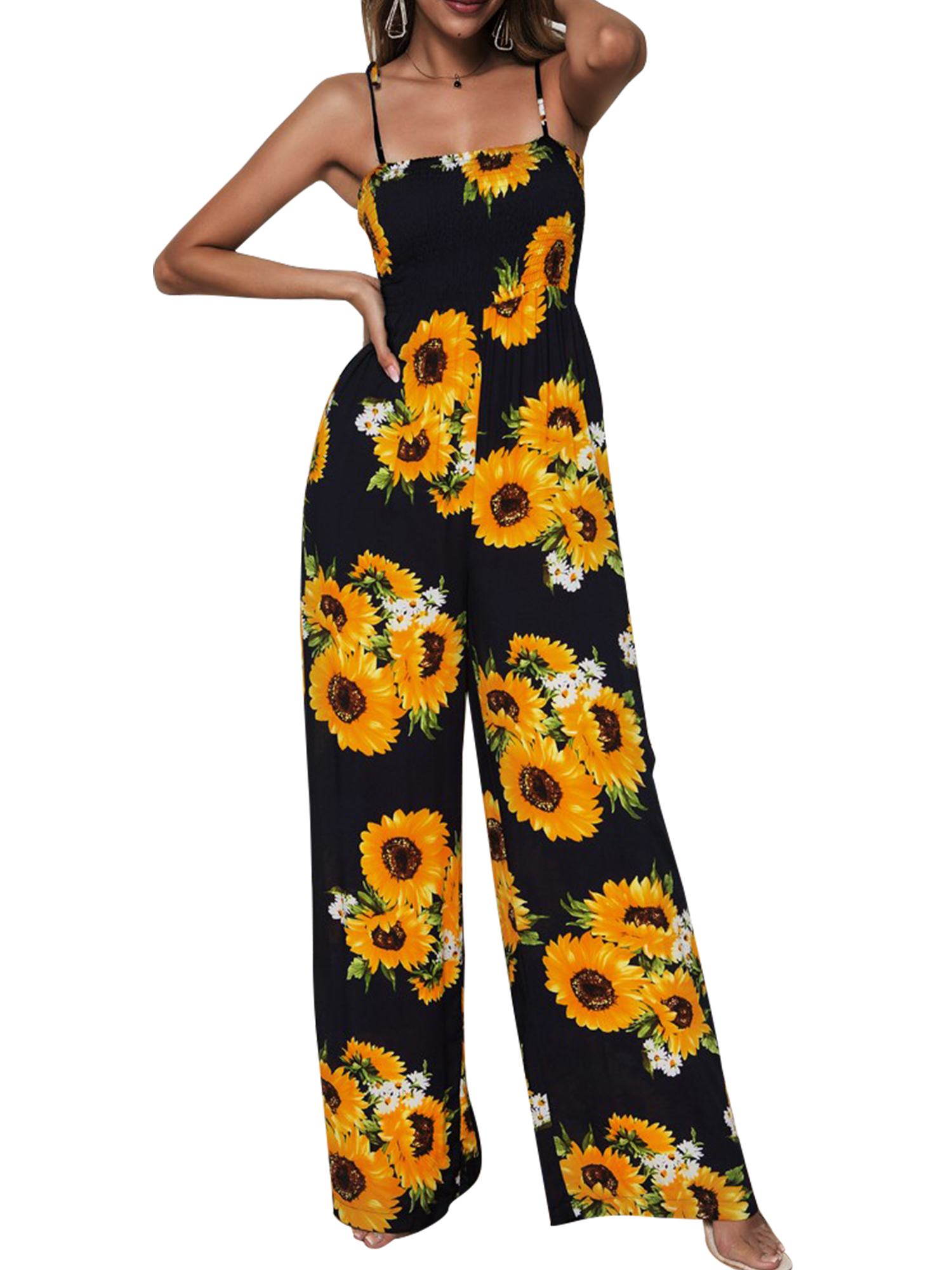 Dot Pattern Party Casual Suit Makeupstore Woman Sling Wide-Leg Jumpsuit