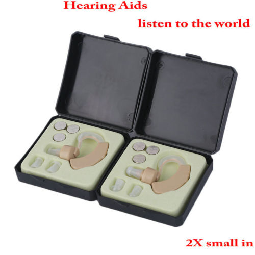 Hearing Aids 2 x Small In Ear Invisible Best Sound Amplifier Adjustable Tone UE
