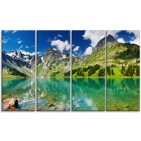Design Art Bright Day Mountain Lake 4 Piece Photographic Art On Wrapped Canvas Set