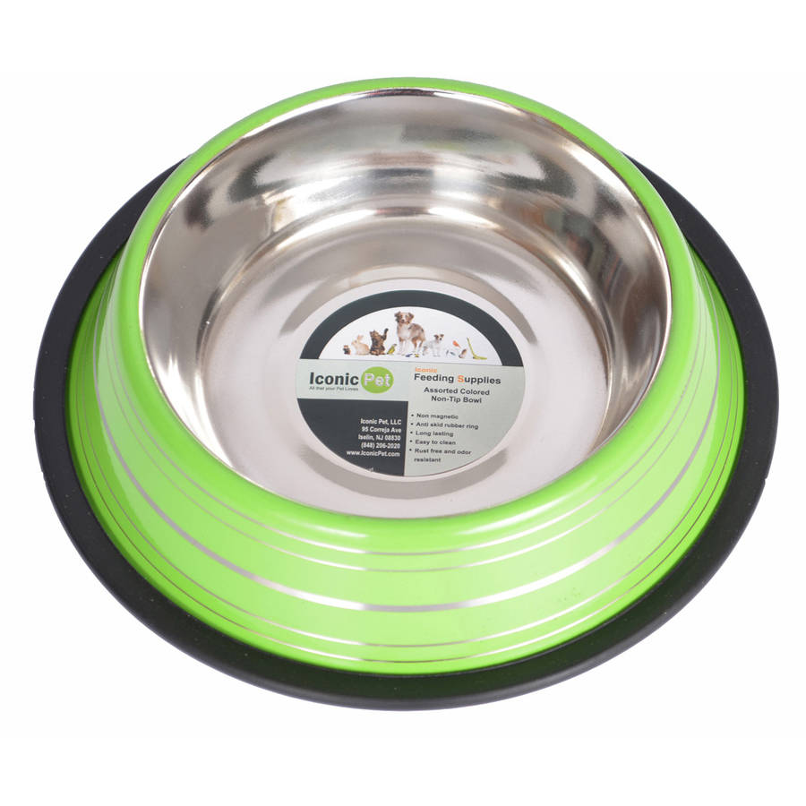 Iconic Pet Color Splash Stripe Non-Skid Pet Bowl, 16 Oz, Green