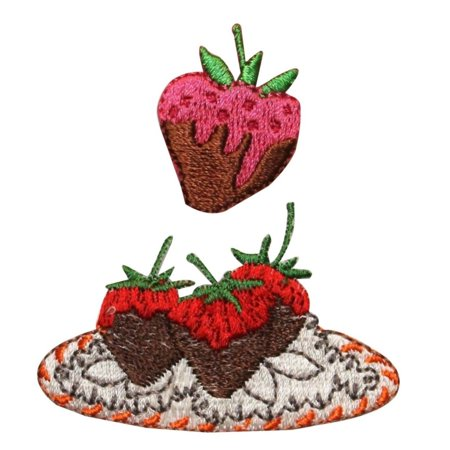 ID 1312AB Chocolate Covered Strawberry Patches Fruit Embroidered IronOn Applique (Strawberry Shortcake Applique)