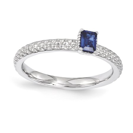 Sterling Silver Stackable Expressions Created Sapphire Single Stone Ring Size 7 - image 3 de 3