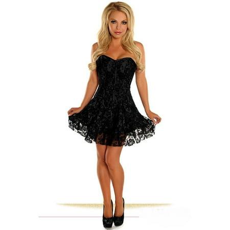 daisy corsets lavish black lace dress cincher front zipper