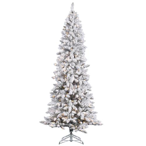 8'   Pre-Lit Flocked Pencil Pine Artificial Christmas Tree - Clear Dura Lights