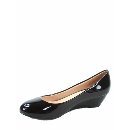 Fisher-8 Women's Slip On Patent Round Toe Low Wedge Heel Pump - Round Toe Stack Heel Pumps