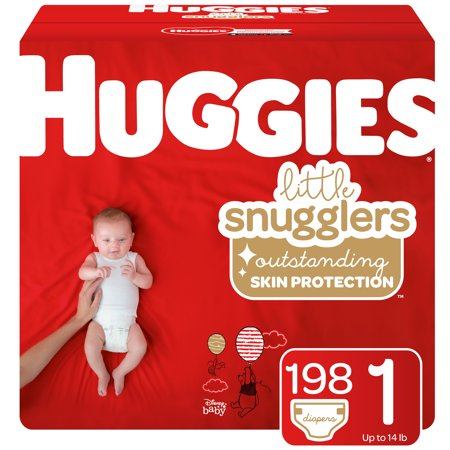 HUGGIES Little Snugglers Diapers Size 1, 198 Count (Monkey Newborn Diapers)