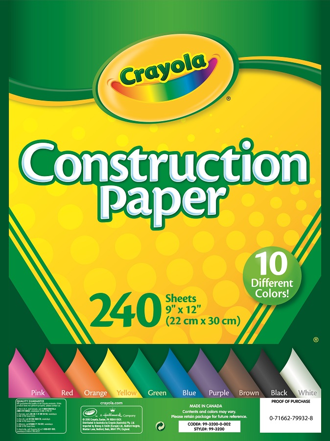 Crayola 240 SHeets Construction Paper by Crayola