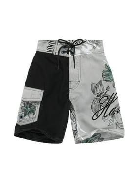 Boy Hawaiian Swimwear Board Shorts with Tie in Black and Grey Floral 2 Year Old