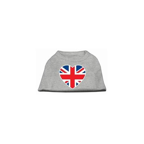 Image of Mirage 51-137 MDGY British Flag Heart Screen Print Dog Shirt Grey Med