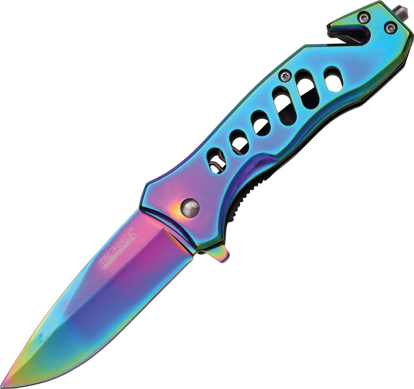 "Master Cutlery TF-844 Tac-Force 3.75"" Folder, Rainbow Finished Stainless Steel Blade and Handle wit"