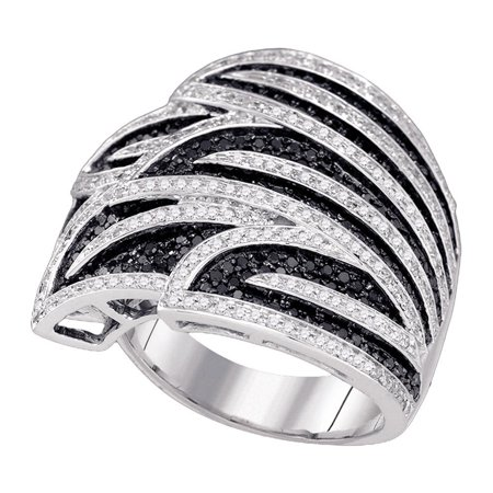 Black Diamond Wide Cocktail Ring 10k White Gold Big Fashion Band Designer Style Polished Fancy 1-3/8 ctw