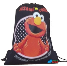 Drawstring Bag - Elmo Black Cloth String Bag