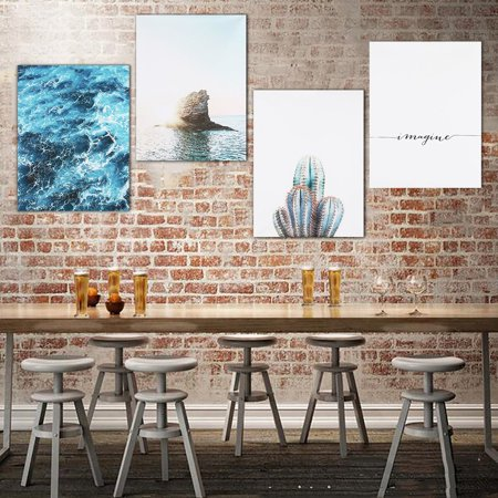 Unframed Modern Blue Sea Life Quote Poster Print Nordic Art Canvas Painting Room Home Decor (Poster Canvas Art Painting)