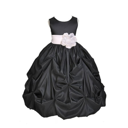 Ekidsbridal Black Bubble Pick-up Taffeta Flower Girl Dress Christmas Bridesmaid Wedding Pageant Toddler Recital Easter Holiday Communion Birthday Baptism Occasions 301s