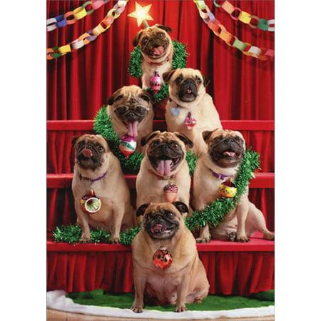Avanti Press Pug Christmas Tree Funny / Humorous Dog Christmas - Funny Dog Christmas