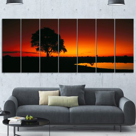 DESIGN ART Designart 'Sunset View in Tanzania' Extra Large African Landscape LED Glossy Metal Wall Art ()